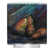 Three Pears Shower Curtain by Nadine Rippelmeyer