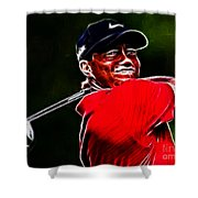 Tiger Woods Shower Curtain by Paul Ward