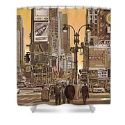 Times Square Shower Curtain by Guido Borelli