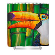 Toco Toucan Shower Curtain by Daniel Jean-Baptiste