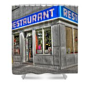 Tom's Restaurant Of Seinfeld Fame Shower Curtain by Randy Aveille