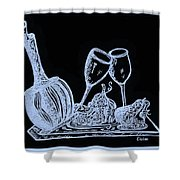Topsy Turvy Tray - First Kiss Shower Curtain by Eloise Schneider