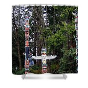 Totem Poles Shower Curtain by Will Borden