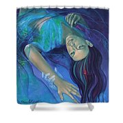 Touching the ephemeral Shower Curtain by Dorina  Costras