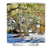 Traditional American Home In Winter Shower Curtain by Lanjee Chee
