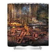 Train - Yard - Do It Yourself Kit Shower Curtain by Mike Savad