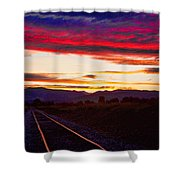 Train Track Sunset Shower Curtain by James BO  Insogna