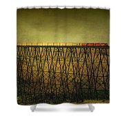 Train Tresle In Lethbridge Shower Curtain by Vickie Emms