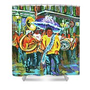 Treme Brass Band Shower Curtain by Dianne Parks