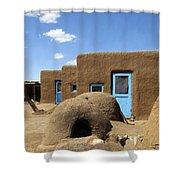 Tres Casitas Taos Pueblo Shower Curtain by Kurt Van Wagner