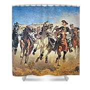 Troopers Moving Shower Curtain by Frederic Remington