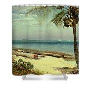 Tropical Coast Shower Curtain by Albert Bierstadt