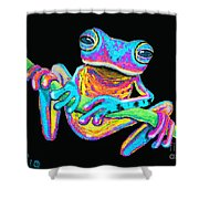 Tropical Rainbow Frog On A Vine Shower Curtain by Nick Gustafson
