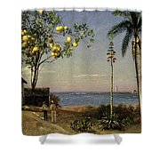 Tropical Scene Shower Curtain by Albert Bierstadt