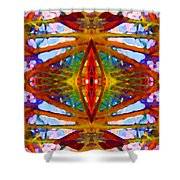 Tropical Stained Glass Shower Curtain by Amy Vangsgard