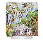 Tropical Waimea Cottage Shower Curtain by Marionette Taboniar
