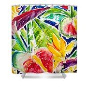 Tropics - Floral Shower Curtain by Julie Kerns Schaper - Printscapes