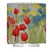 Tulip Field Shower Curtain by Gretchen Bjornson