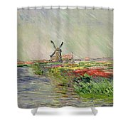 Tulip Field In Holland Shower Curtain by Claude Monet