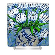 Tulip Tranquility Shower Curtain by Lisa  Lorenz