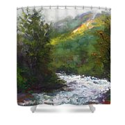 Turbulence Shower Curtain by Talya Johnson