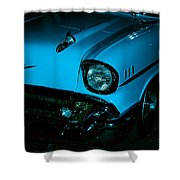 Turquoise Chevy Shower Curtain by DigiArt Diaries by Vicky B Fuller