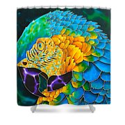 Turquoise Gold Macaw  Shower Curtain by Daniel Jean-Baptiste