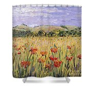 Tuscany Poppies Shower Curtain by Nadine Rippelmeyer