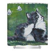 Tuxedo Kitten Shower Curtain by Lee Ann Shepard