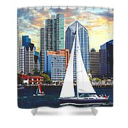 Twilight Harbor Curise1 Shower Curtain by Ronald Chambers