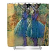 Two Blue Dancers Shower Curtain by Edgar Degas