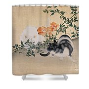 Two Cats Shower Curtain by Japanese School