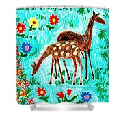 Two Deer Shower Curtain by Sushila Burgess
