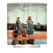 Two Girls on the Beach Shower Curtain by Winslow Homer
