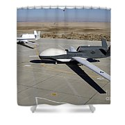 Two Global Hawks Parked On A Ramp Shower Curtain by Stocktrek Images
