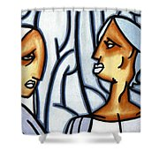 Two Ladies Shower Curtain by Thomas Valentine