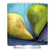 Two Pears Still Life Shower Curtain by Michelle Calkins