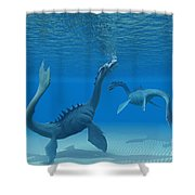 Two Sea Dragons Shower Curtain by Corey Ford