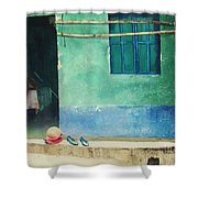 Two Shoes And A Melon Shower Curtain by Elizabeth Carr