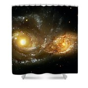 Two Spiral Galaxies Shower Curtain by The  Vault - Jennifer Rondinelli Reilly