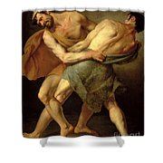 Two Wrestlers Shower Curtain by Cesare Francazano