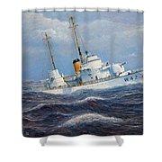 U. S. Coast Guard Cutter Sebago Takes A Roll Shower Curtain by William H RaVell III