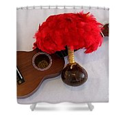 Ukulele and UliUli Shower Curtain by Mary Deal