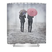 Umbrellas In The Mist Shower Curtain by Joana Kruse