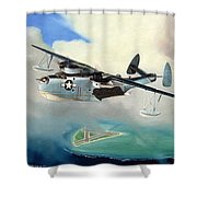 Uncle Bubba's Flying Boat Shower Curtain by Marc Stewart
