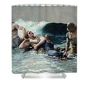 Undertow Shower Curtain by Winslow Homer