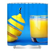 Underwater diving on a floating orange Shower Curtain by Paul Ge