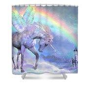 Unicorn Of The Rainbow Shower Curtain by Carol Cavalaris