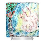 Unicorns Come Home Shower Curtain by Sushila Burgess