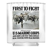 Us Marine Corps - First To Fight  Shower Curtain by War Is Hell Store
